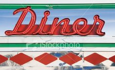 Diner Neon Sign in Red, Roadside Americana 1950s