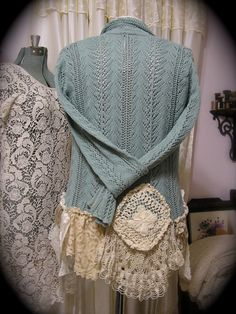 Shabby Lagenlook Sweater, altered upcycled lace crocheted doily hem ruffles, earthy natural, Medium Large