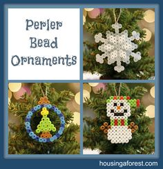 Perler Bead - Holiday Ornaments - christmas designs - Perler Bead jewelry - Fuse bead designs - Perler Bead - Perler bead art - #perlerbead