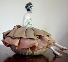 Antique Porcelain Half Doll Pin Cushion