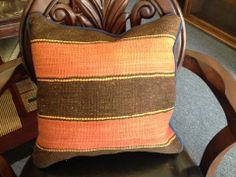 Orange & Brown Striped Kilim Pillow @flea_pop