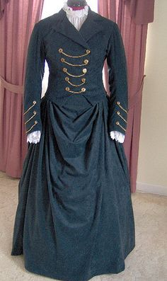 1800s Victorian Dress - 1880s Bustle Gown - Traveling Suit Riding Habit Equestrian Jacket Skirt - Gothic. $300.00, via Etsy.