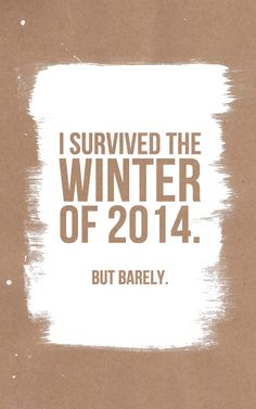 I Survived the Winter of 2014...but barely.