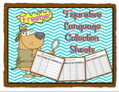FREEBIE!  These student figurative language sheets are a great tool.  Students keep the collection sheets handy as they are reading independently or in a small group setting.  Challenge your readers to become figurative language detectives.  Students are on the look out for examples of figurative language as they read.  These forms provide a handy place to record examples of figurative language.