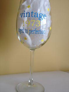 Vinyl decal birthday wine glass