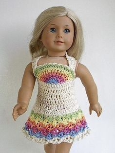 American Girl Doll Clothes Crocheted Rainbow Dress by Lavenderlore, $18.00. There is also a pattern available.