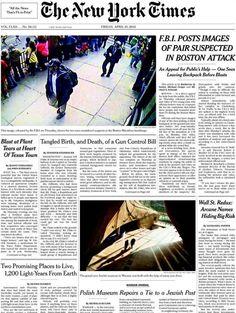 Sospechosos del atentado de la maratón de Boston, vistos por cámaras de vigilancia, en primera de The New York Times