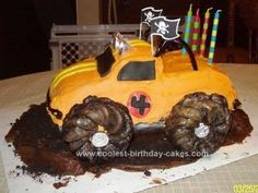 Homemade Monster Truck Birthday Cake Design: I thought about what Kaedan would want on his Homemade Monster Truck Birthday Cake Design. I used a Wilton car cake pan.  Used a yellow cake mix with choc