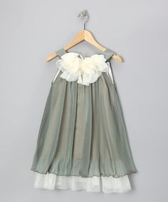 Another great find on #zulily! Sage & White Floral Yoke Dress - Toddler & Girls #zulilyfinds