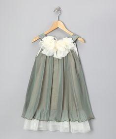 Another great find on #zulily! Sage White Floral Yoke Dress - Toddler Girls #zulilyfinds