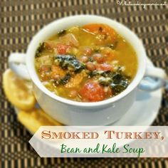Smoked Turkey, Bean and Kale Soup Recipe  |  whatscookingamerica.net  #turkey #smoked #bean #kale #soup
