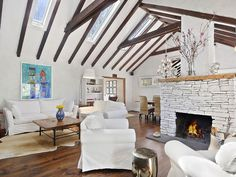 Stylish living room with vaulted ceiling