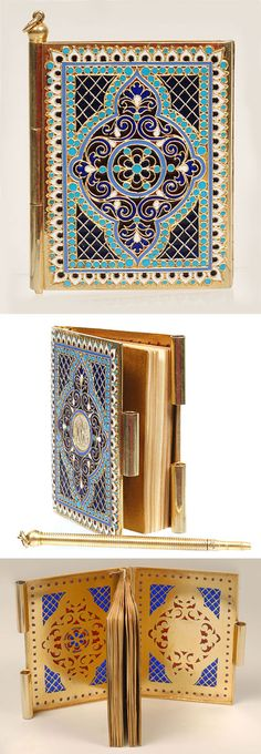 A Russian silver gilt and plique-a-jour enamel notebook, Antip Kuzmichev, Moscow, circa 1890. The hinged cover notebook or carte de bal decorated with a scroll and geometric translucent red and blue motif outlined by bands of turquoise enamel beads, all within a geometric cloisonne and plique-a-jour enamel beaded border, the sides clasped together by a removable gilt pencil. Retailed by Tiffany and Company.