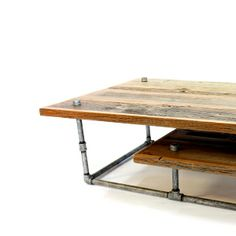 reclaimed wood and pipe table