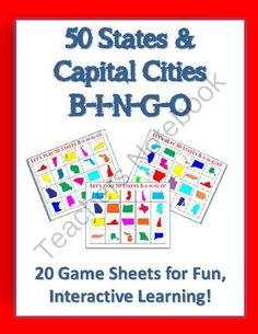 50 States & Capital Cities BINGO - 20 Full-Color Game Sheets - American History from Christopher Mitchell on TeachersNotebook.com -  (26 pages)  - Would you like a fun, challenging way to teach students the fifty states and capital cities?  This set of 20 FULL-COLOR Bingo game sheets will do just that!