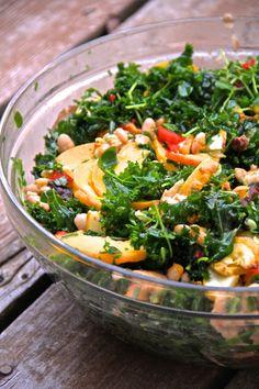 summer kale salad: massaged kale, pea sprouts, summer squash, roast heirloom tomatoes, shiitake mushrooms, and cannellini beans.