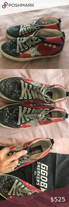 Golden Goose Deluxe Brand Red Canvas Glitter Star Selling these rare GGDB red canvas silver glitter mid stars, size 36. Worn just once - still in mint condition. Comes with original box and shoe bag. Original retail $598. Golden Goose Deluxe Brand Shoes Sneakers