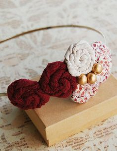 Rosette Headband Burgundy and Gold Eco Friendly