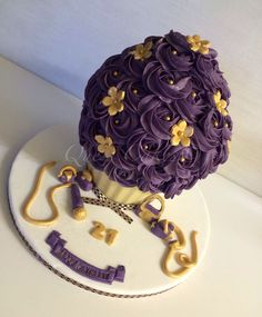 Giant cupcake ..gold and purple cake