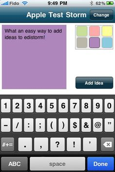 Edistorm ($0.00) is an online brainstorming tool that uses the metaphor of sticky notes to allow you to brainstorm. Edistorm is the best way to brainstorm before, during and after your meetings.    Edistorm for iPhone allows you create brainstorms, add or retrieve your ideas anywhere you are.    Visit Edistorm.com to organize your ideas and to visually collaborate with your clients wherever they are.