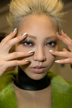 Metallic  Gold may be on the the most precious metal, but this season, other alloys ruled. For silver, look no further than Antipodium  Read more: Nail Trends Fall 2013 - Best Fall Nail Polish Colors 2013 - Harper's BAZAAR
