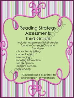 Reading Strategies from 3 Wishes on TeachersNotebook.com (21 pages)  - Third grade reading strategy assessments aligned with Common Core and Storytown.