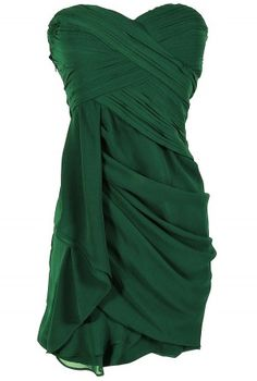 gorgeously draped cocktail dress.