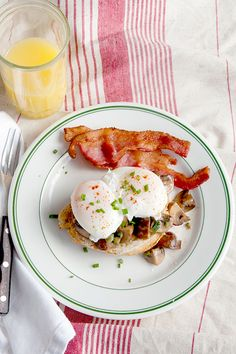 Creamed Mushrooms with Poached Eggs