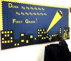 Superheroes first grade bulletin board