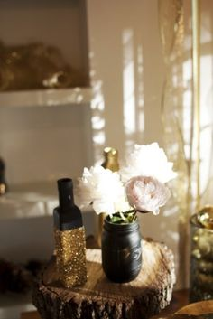 black and glitter jars and bottles