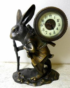 Unusual Brass Rabbit Clock, LOOK Porcelain Dial!!