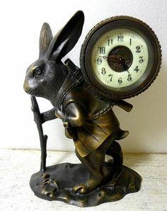 Unusual Brass Rabbit Clock, LOOK Porcelain Dial!!