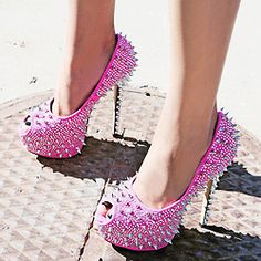 shoe dazzle, spikes, street styles, pumps, stud, street style fashion, heels, pink shoes, stiletto