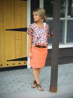 August 2012   Stylin' Mommies Church Office, Fashion, Coral, Cloth, Style, Summer Outfits, Pencil Skirts, Bright Colors, August 2012