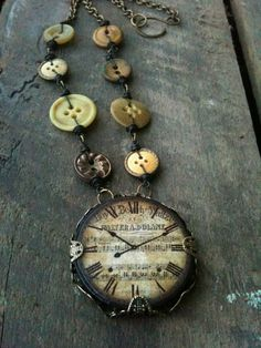 love the buttons! clock ephemera, vintage buttons, tile necklac, jewelry necklaces, button necklace, old clocks, antiqu button, craft ideas, women jewelri
