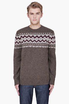 A.P.C: olive merino wool knit sweater