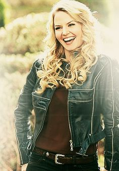 Emma and her leather jackets. I love it when she smiles a real smile. :)