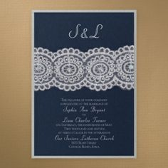 Blue and White Wedding Ideas - Bridal Lace  Pearls - Invitation - Midnight | Occasions In Print, LLC (Invitation Link - http://occasionsinprint.carlsoncraft.com/Wedding/Wedding-Invitations/3149-RRN7845AMBMDSS-Bridal-Lace--Pearls--Invitation--Midnight.pro)