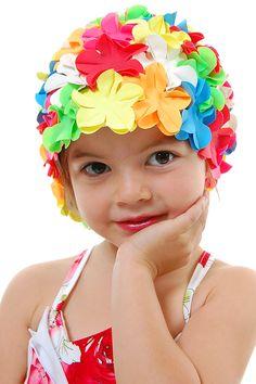 Children's retro swimcap for invitation pictures