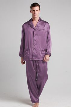 Give him the ultimate in comfort with this luxurious lounge pajamas featuring perfect design.  $112 #pajamas #silk #lilysilk
