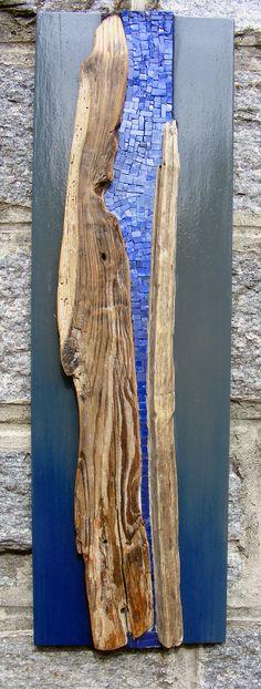 Mosaic in drift wood - no attribution