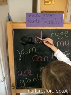 "How to Spell Activities - I especially like the ""Make your words vanish"" on the chalkboard!"