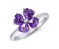 Amethyst Flower Ring in 14k White Gold #BlueNile