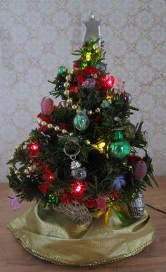 Miniature Christmas Tree Doll House Battery Lights OOAk. $42.00, via Etsy.