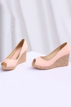 Peep Toe Wedge Sandals.