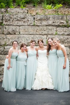 Pale blue Bridesmaid's dresses #wedding #fashion