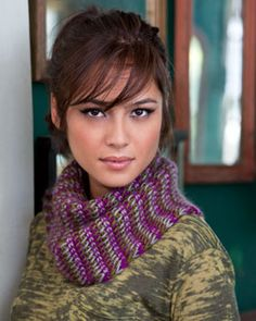 Intricate Tunisian crochet construction makes this cowl a stylish standout. Shown in Bernat Sheep(ish) by Vickie Howell.