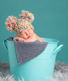 READY Baby Hat - Baby Girl Hat  - Baby Boy Hat - Very Soft and Colorful with Pom Pom's
