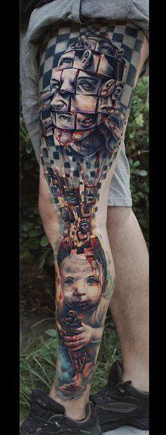 crazy tattoos, bodi art, leg tattoos, legs, the artist, tattoo sleeves, georg mavridi, tattoo ink, incredible tattoos