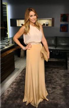 Lauren Conrad wearing a solid silk maxi skirt by Paper Crown with a pastel tank from Topshop #fashion